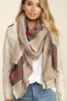 LuLu*s Cold Snap Beige Striped Scarf