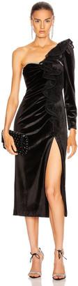 Self-Portrait Self Portrait Velvet Ruffle Midi Dress in Black | FWRD
