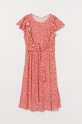 H&M MAMA Ruffle-trimmed Dress - Orange