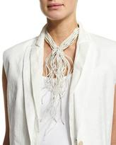 Brunello Cucinelli Riverstone Choker Tie Necklace, White