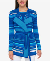 Tommy Hilfiger Striped Belted Cardigan, Only at Macy's