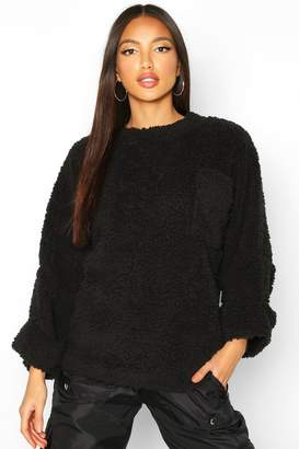 boohoo Oversized Slouch Teddy Sweat With Pocket