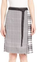 Calvin Klein Collection Runway Houndstooth & Plaid Silk Skirt
