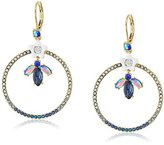 """Betsey Johnson Betsey Blues"""" Flower and Faceted Stone Pave Gypsy Hoop Earring"""