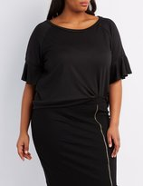 Charlotte Russe Plus Size French Terry Ruffle-Trim Sweatshirt
