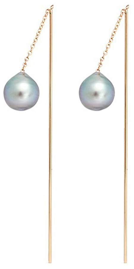 Mizuki Tahitian pearl 14k gold thread through bar earrings