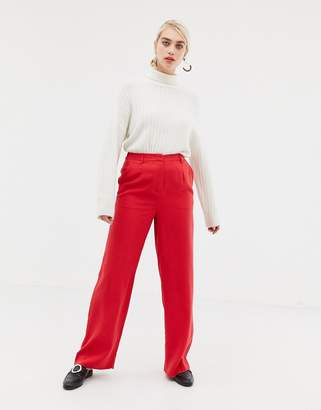Selected Fraven wide leg trousers-Red