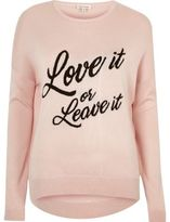 River Island Womens Blush pink knit 'love it' slogan sweater