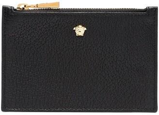 Versace black Medusa head leather zip wallet