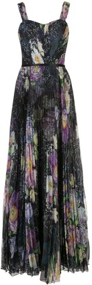 Marchesa Notte Floral Print Sleeveless Pleated Gown