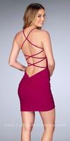 La Femme Twist Knotted Strappy Jersey Open Back Cocktail Dress