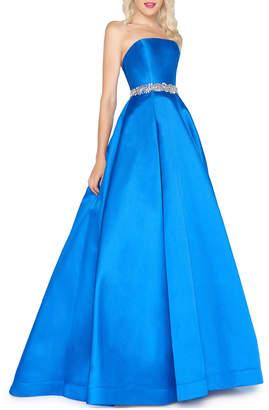 Mac Duggal Strapless Bejeweled-Waist Satin Ball Gown