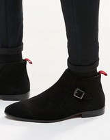 Asos Boots In Black Suede With Buckle