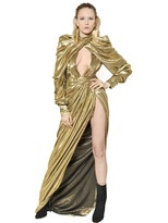 Balmain Lurex & Silk Georgette Long Dress