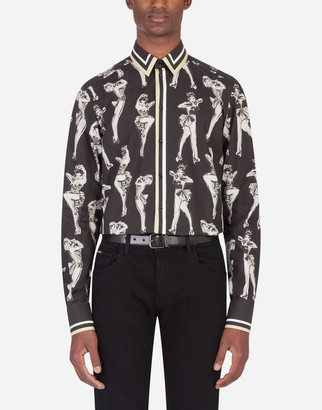 Dolce & Gabbana Gold Cotton Shirt With All Over Pin-Up Print