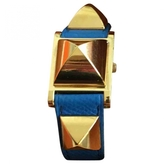 Hermes Blue Gold plated Watch Medor