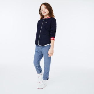 Lacoste Girls' Striped Detail Zippered Quilted Cotton Teddy Jacket