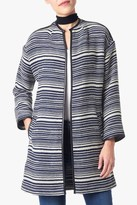 7 For All Mankind Structured Stripe Coat In Navy Stripe