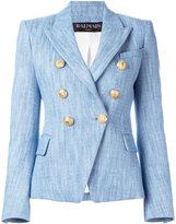 Balmain denim woven blazer - women - Cotton/Linen/Flax/Viscose - 36