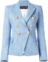 Balmain denim woven blazer - women - Cotton/Linen/Flax/Viscose - 38