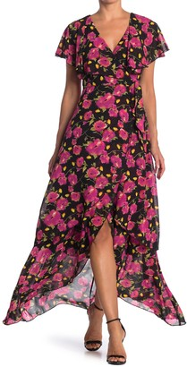 Abound Floral Flutter Sleeve High/Low Maxi Dress