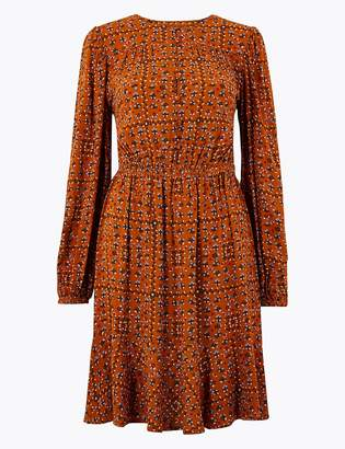 Marks and Spencer Tile Ditsy Print Waisted Mini Dress