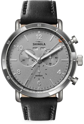 Shinola Canfield Sport Stainless Steel & Leather-Strap Chronograph Watch