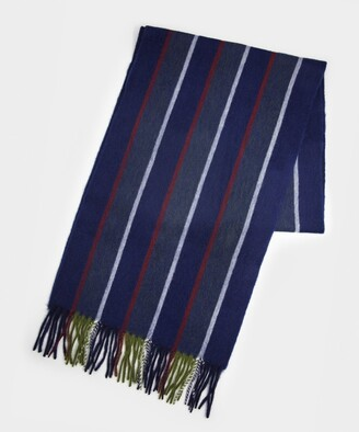 Drakes Regimental Stripe Scarf in Navy