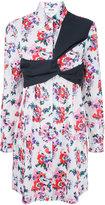 MSGM strap detail floral print dress - women - Cotton - 46