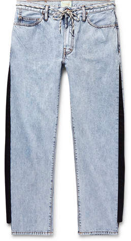 Aries Twill-Trimmed Acid-Washed Jeans - Blue