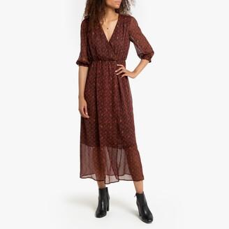 See U Soon Maxi Printed Boho Wrapover Dress with Long Sleeves