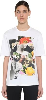 Alexander McQueen SKULL & LOGO COTTON JERSEY T-SHIRT