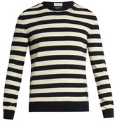 Saint Laurent Distressed striped wool and cashmere-blend sweater