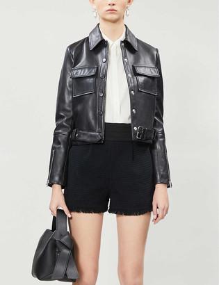 Claudie Pierlot Frayed-trim high-rise metallic tweed shorts