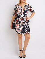 Charlotte Russe Plus Size Floral Notched Peplum Dress