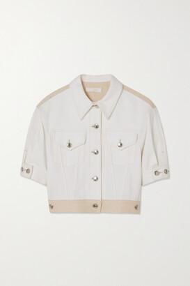 Chloe - Two-tone Printed Denim Jacket - Off-white