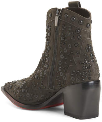 Made In Italy Studded Pointy Toe Suede Boots