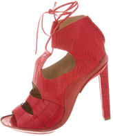 Calvin Klein Collection Embossed Lace-Up Sandals
