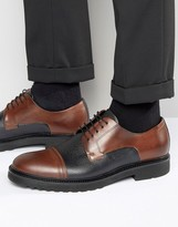 Boss By Hugo Boss Grain Contrast Toe Cap Derby Shoes