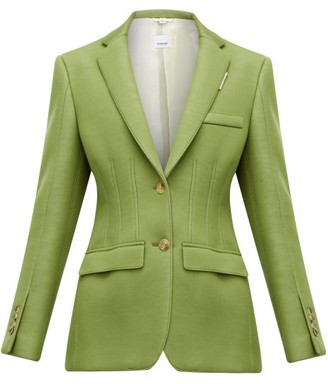 Burberry Single Breasted Tailored Scuba Blazer - Womens - Green