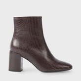 Paul Smith Women's Brown Mock Croc Leather 'Sinah' Ankle Boots