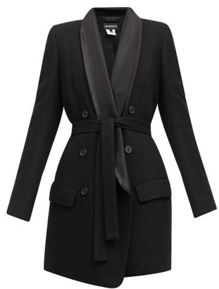 Ann Demeulemeester Double-breasted Satin-lapel Belted Wool Coat - Black