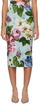 Dolce & Gabbana Blue Floral Cady Midi Skirt
