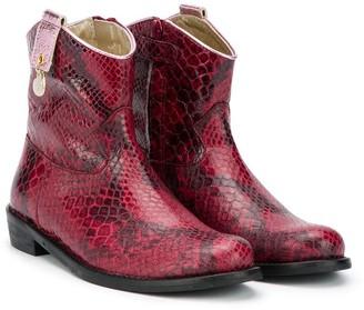 MonnaLisa Snake-Effect Cowboy Boots