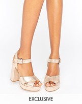 Office Smile Rose Gold Leather Platform Heeled Sandals