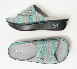 Alegria Leather Printed Slide Sandals - Kylee