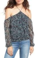 Moon River Women's Metallic Stripe Paisley Top