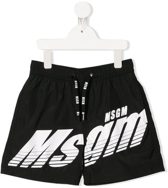 Msgm Kids Logo Swim Shorts