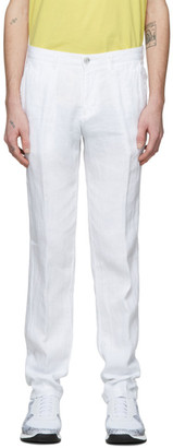 BOSS White Linen Crigan3-D Trousers