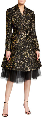 Pamella Roland Lurex Jacquard Tulle Underskirt Coat Dress